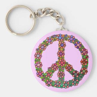 Bonito del símbolo del signo de la paz de la flor llavero redondo tipo pin