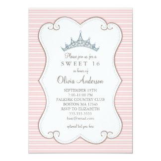 Bonito en dulce rosado invitación de la tiara de invitación 12,7 x 17,8 cm