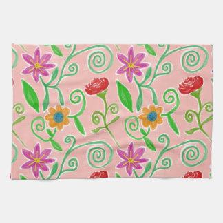 Bonito en el arreglo floral rosado con los rosas toallas de cocina