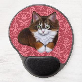 Bonito en el gato mullido rosado Mousepad del Alfombrilla De Ratón Con Gel