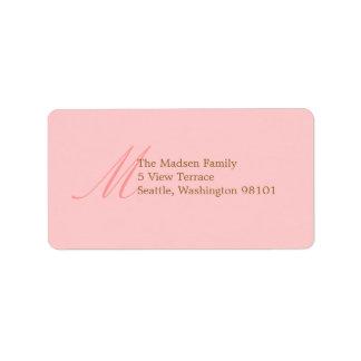Bonito en etiqueta de dirección rosada