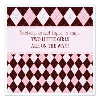 """Bonito en fiesta de bienvenida al bebé gemela invitación 5.25"""" x 5.25"""""""
