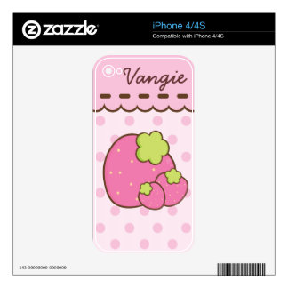 Bonito en fresas rosadas del verano calcomanías para el iPhone 4S