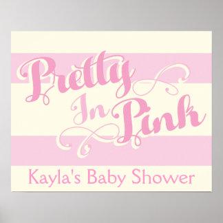 Bonito en la fiesta de bienvenida al bebé rosada, póster