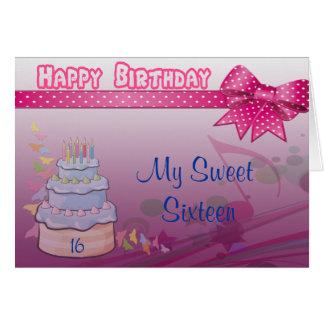 Bonito en la torta rosada de Bday Tarjeta De Felicitación