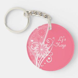 Bonito en llavero floral rosado