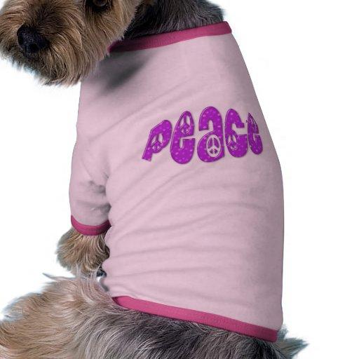 Bonito en logotipo rosado de la paz camiseta con mangas para perro