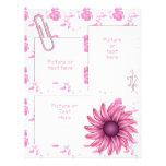 Bonito en página floral de la ventana rosada del ~ plantilla de membrete