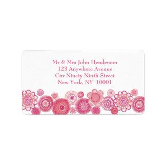 Bonito en pegatina floral rosado y blanco de la di etiqueta de dirección