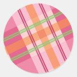 Bonito en pegatinas de la tela escocesa pegatinas redondas