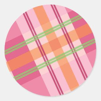 Bonito en pegatinas de la tela escocesa pegatina redonda