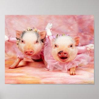 Bonito en poster rosado de la pared de los cerdos