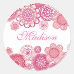 Bonito en primero conocido pintado rosa de la pegatinas redondas