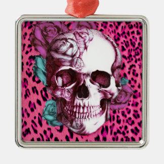Bonito en punk leopardo del rosa impactante y crá adorno de reyes