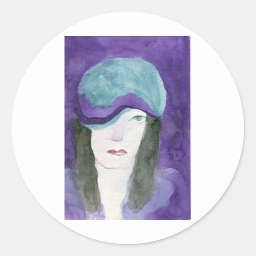 Bonito en púrpura pegatinas redondas
