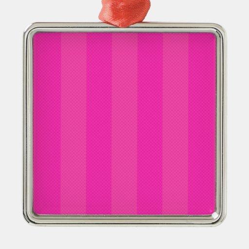 Bonito en rayas rosadas adorno cuadrado plateado