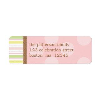 Bonito en rayas rosadas y verdes + Puntos Etiqueta De Remitente