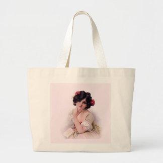 Bonito en rosa bolsa lienzo