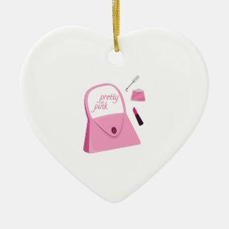 Bonito en rosa adorno de cerámica en forma de corazón