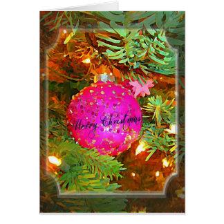 Bonito en rosa - ornamento chispeante del navidad tarjeta de felicitación