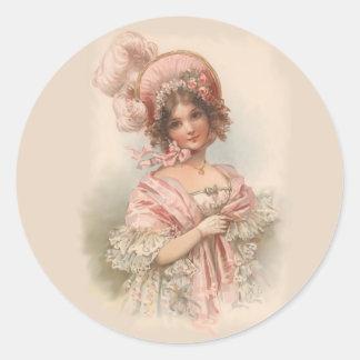 Bonito en rosa pegatina redonda