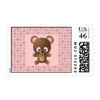 Bonito en sello rosado del oso de peluche