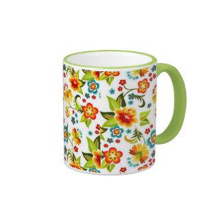 bonito floral del padrão taza de café