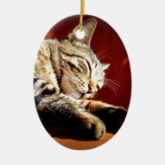 Bonito gato atigrado adorno navideño ovalado de cerámica