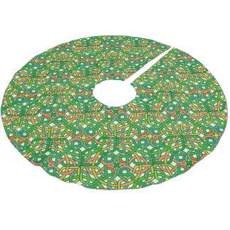 Bonito irlandés del verde del modelo de la trenza falda para arbol de navidad de poliéster