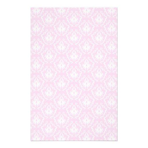 Bonito palidezca - el modelo rosado del damasco co personalized stationery