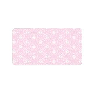 Bonito palidezca - el modelo rosado del damasco etiqueta de dirección