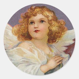 Bonito poco ángel pegatina redonda