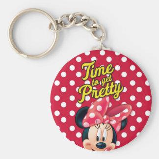 Bonito rojo de Minnie el   Llavero Redondo Tipo Pin