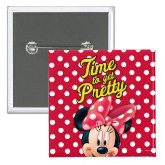 Bonito rojo de Minnie el   Pin Cuadrado