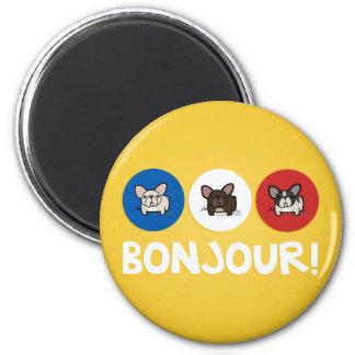 Bonjour! 2 Inch Round Magnet