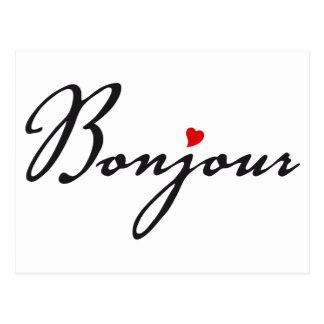 Bonjour, arte francés de la palabra con el corazón tarjetas postales