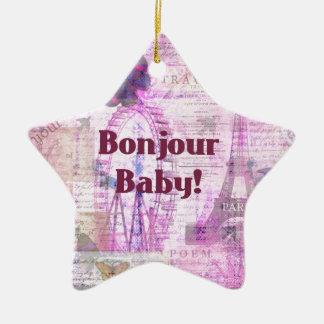 Bonjour Baby French Phrase Paris theme Christmas Tree Ornament
