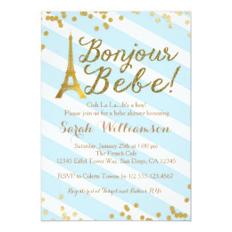 French baby shower invitations announcements zazzle bonjour bebe boy french baby shower invitation stopboris Images