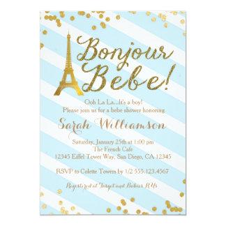 Bonjour Bebe Boy French Baby Shower Invitation