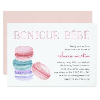Bonjour Bébé | Macaron Baby Shower Invitation