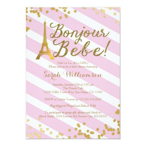 Bonjour Bebe Paris Girl Baby Shower Invitation 2