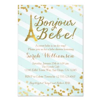 Bonjour Bebe Paris Green Baby Shower Invitation