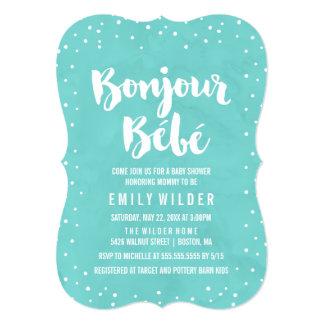 Bonjour Bebe Watercolor Baby Shower Card