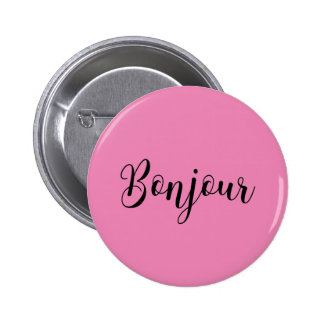 Bonjour-blackText Pinback Button