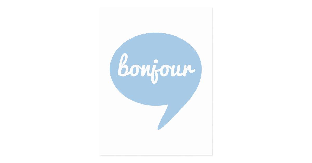 bonjour blue speech bubble  french word art postcard
