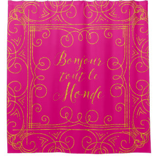 Pink And Gold Shower Curtains Zazzle