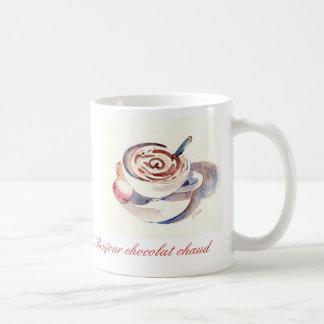 Bonjour chocolat chaud classic white coffee mug
