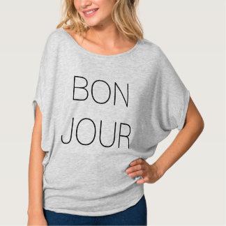 Bonjour Cool Minimal Typography T-Shirt