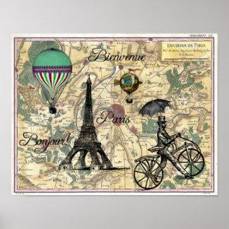 Bonjour De Paris Vintage Map Art Print