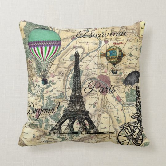 Bonjour De Paris Vintage Map Decorative Pillow
